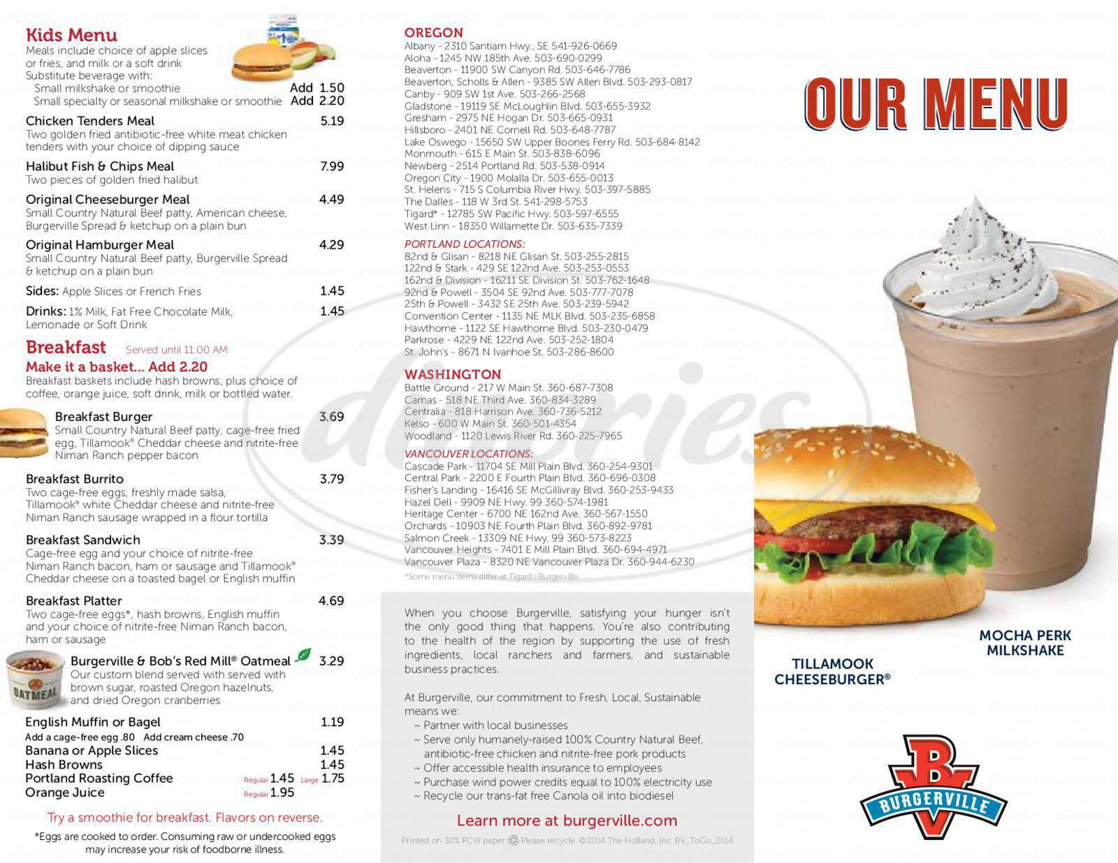 menu for Burgerville