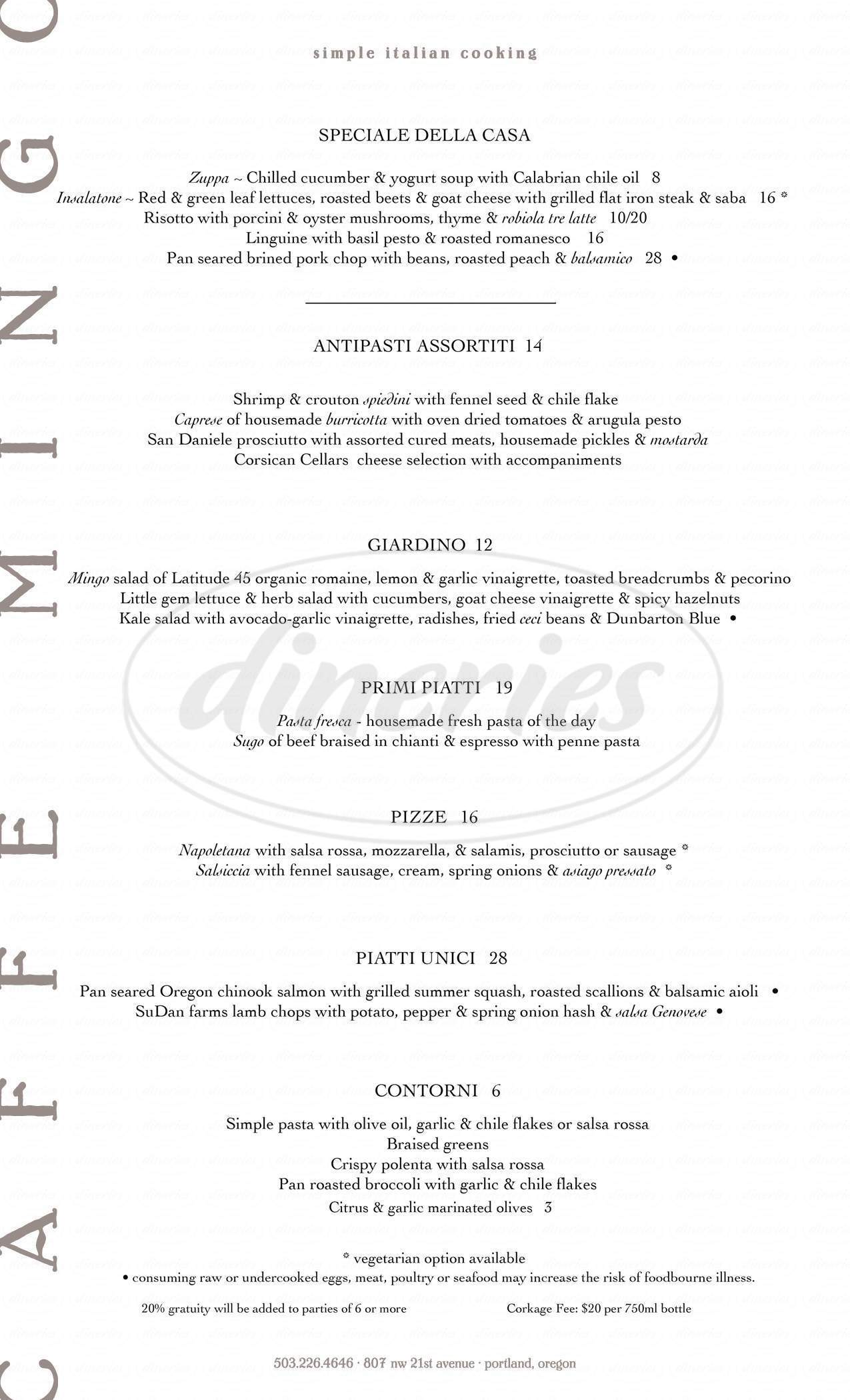 menu for Caffe Mingo