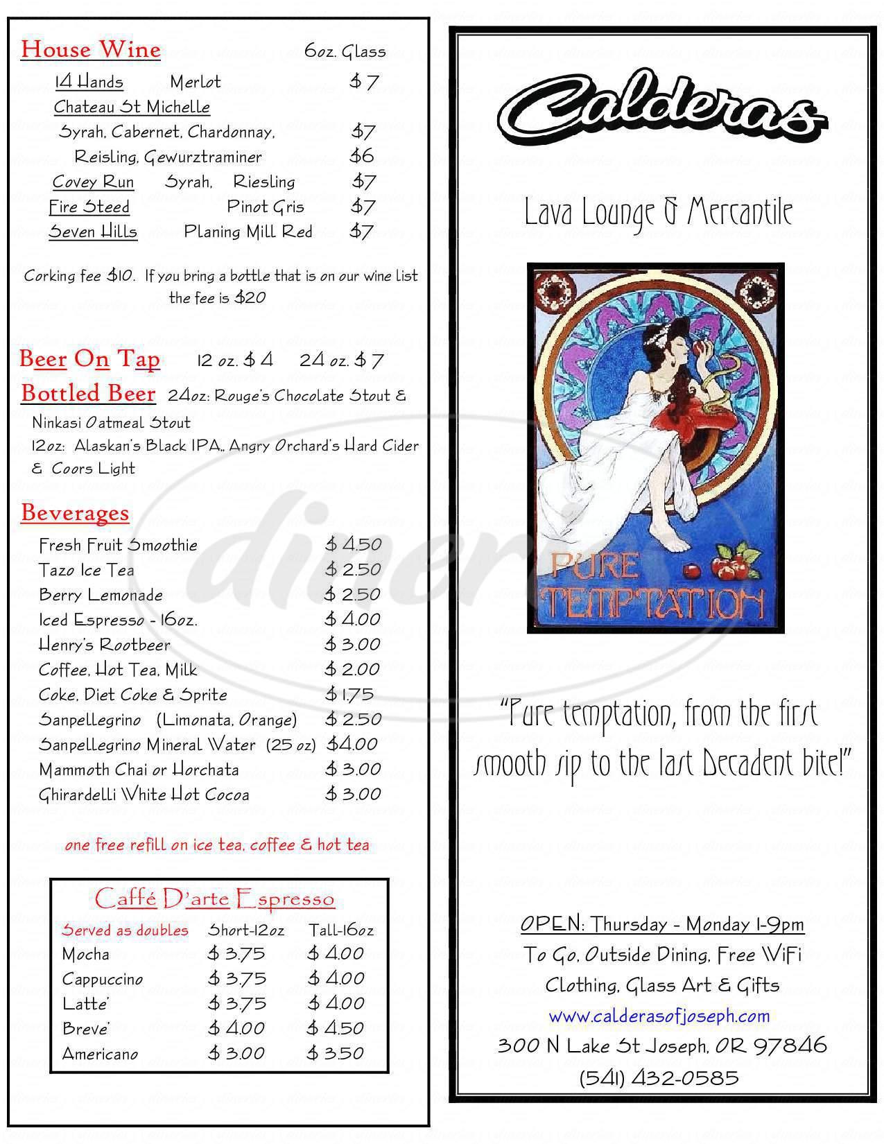 menu for Calderas Restaurant