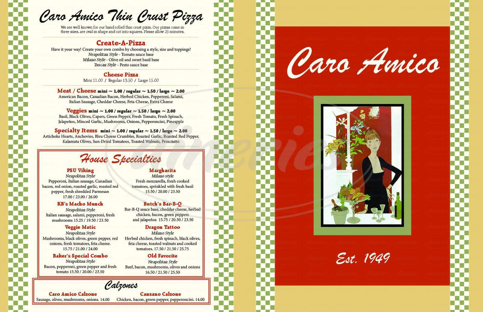 menu for Caro Amico Italian Cafe