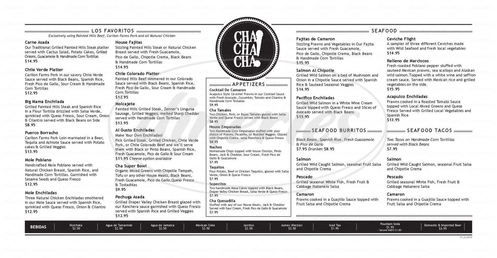menu for Cha! Cha! Cha!