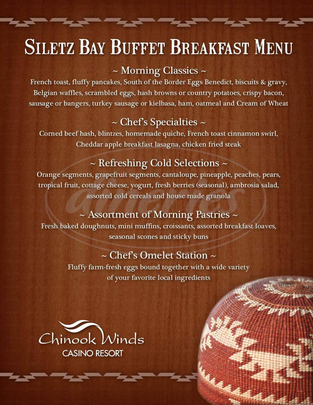 menu for Siletz Bay Buffet