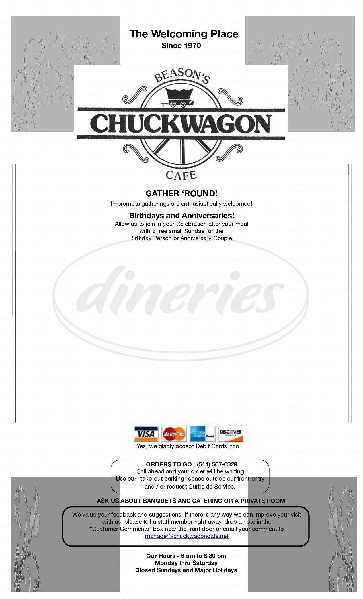 menu for Chuckwagon Cafe