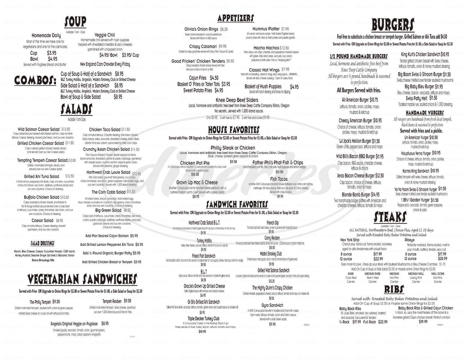 menu for Cornucopia Bar & Burgers