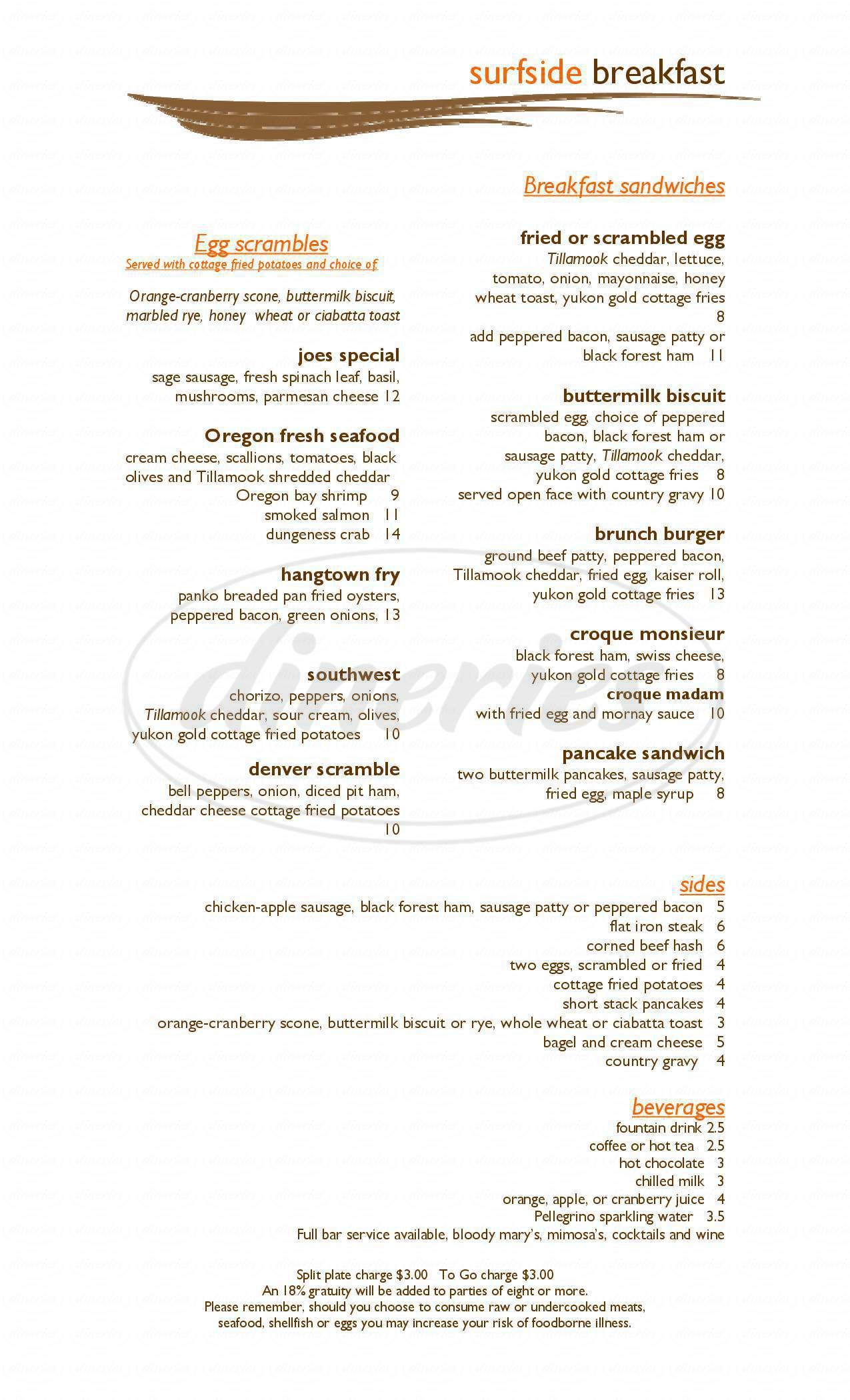 menu for Surfside Restaurant At Driftwood Shores