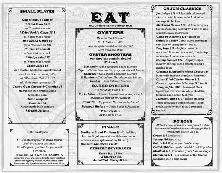 menu for Eat: An Oyster Bar