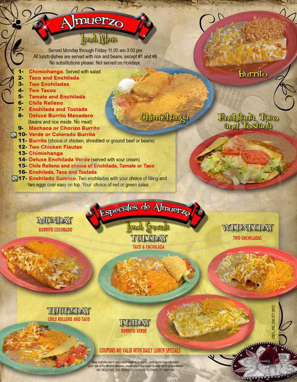 menu for El Tapatio Restaurant