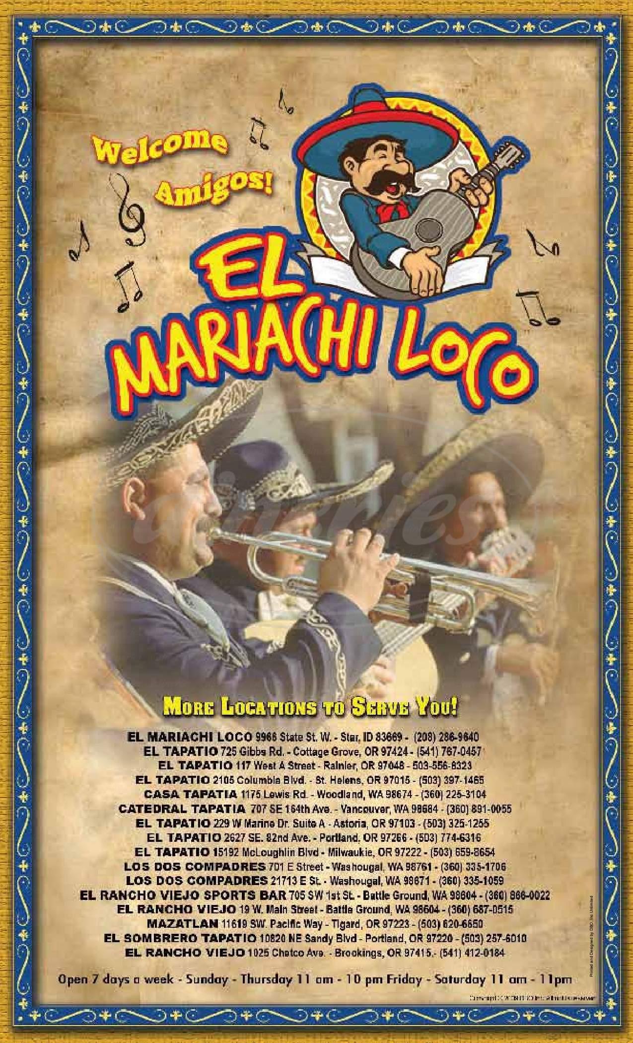 menu for El Sombrero Mexican Restaurant