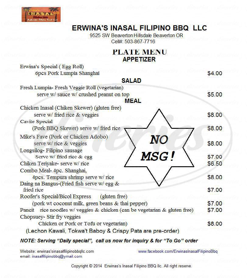 menu for Erwina's Inasal Filipino Bbq