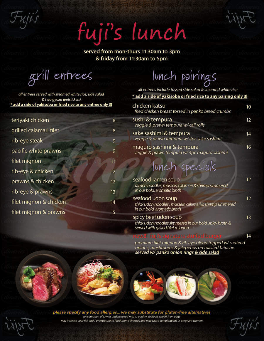 menu for Fuji's Japanese Restaurant