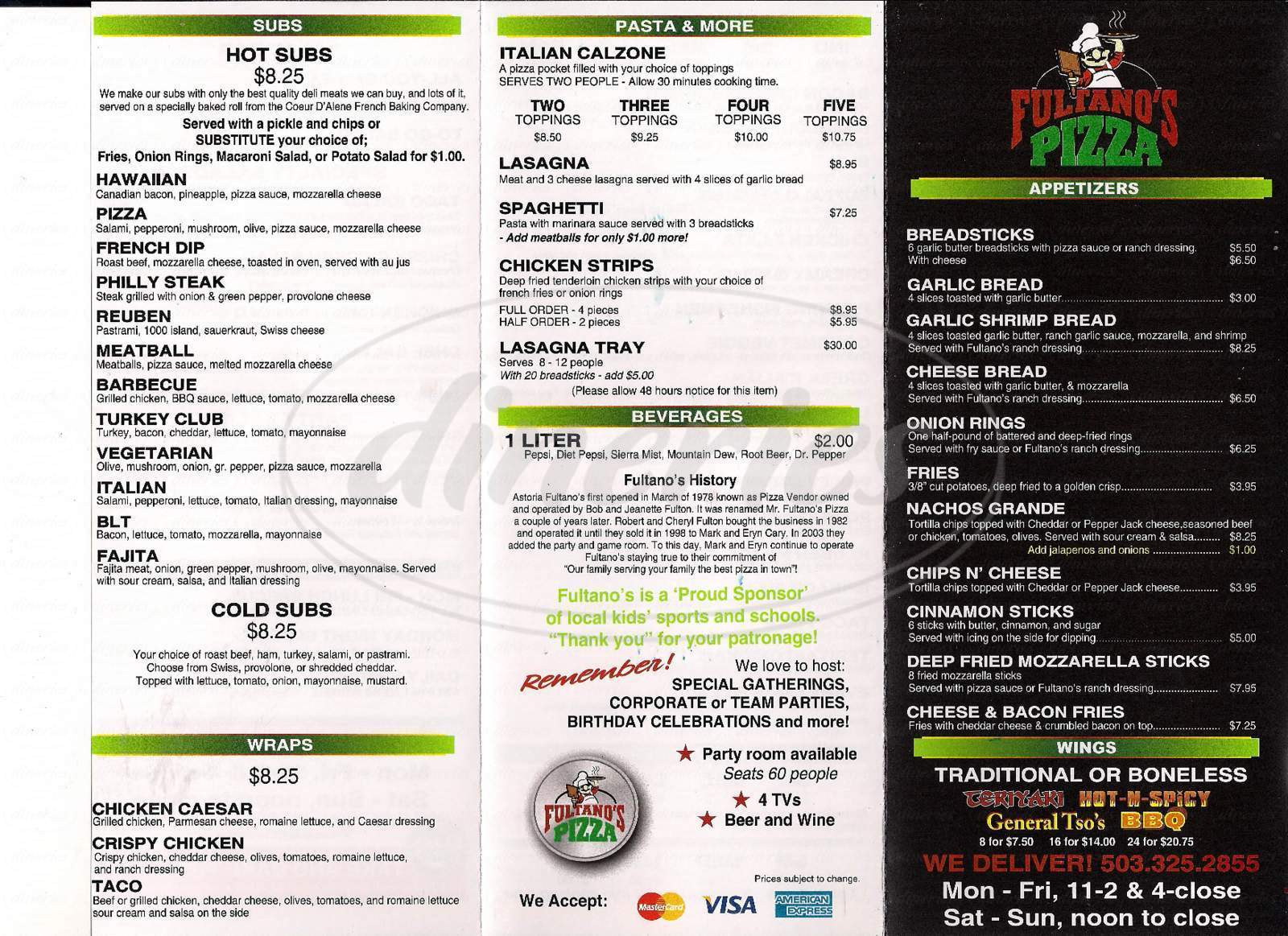 menu for Fultano's Pizza