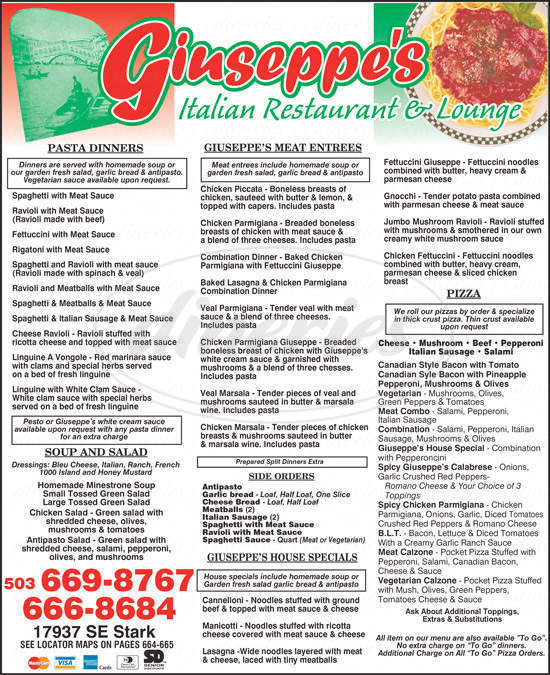 menu for Giuseppe's Italian Restaurant & Lounge