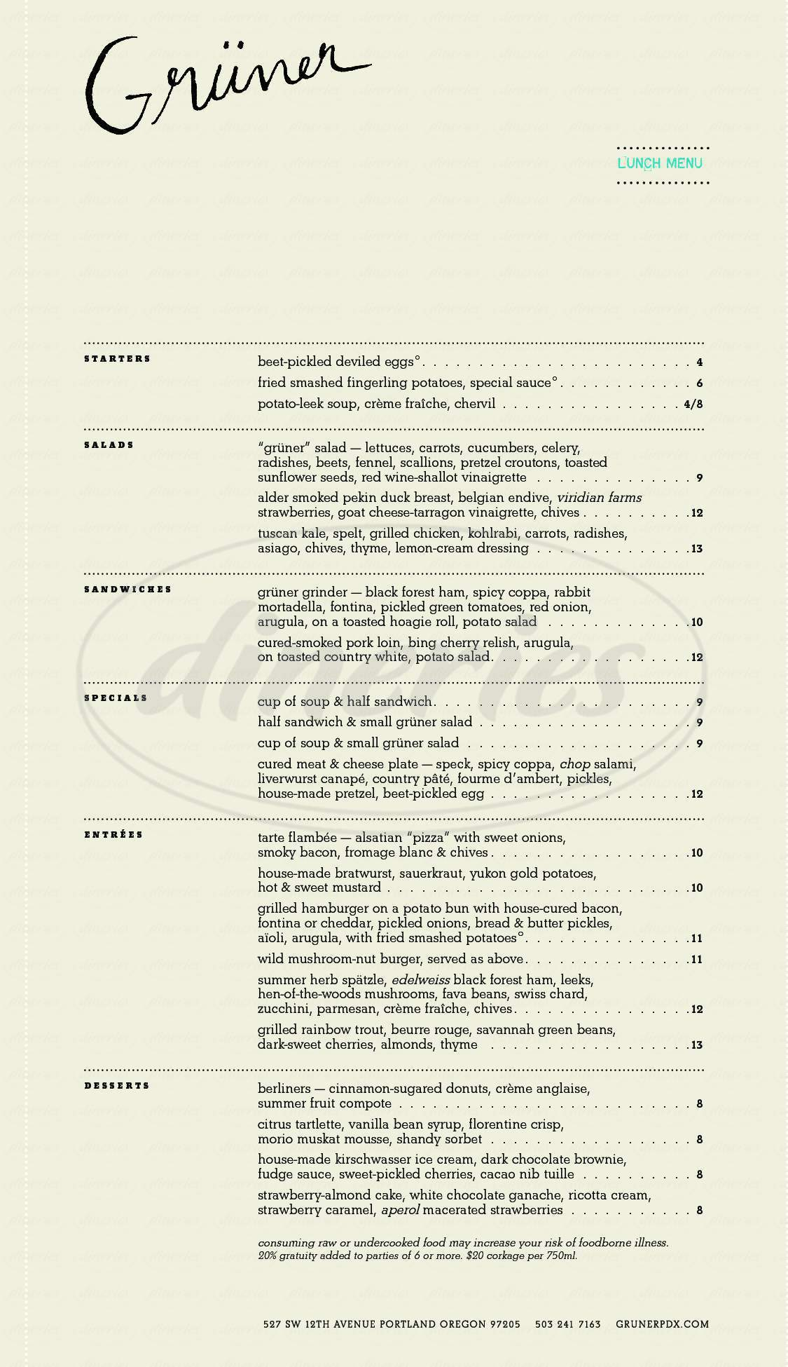 menu for Kask