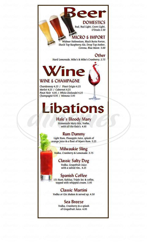menu for Hale's Restaurant