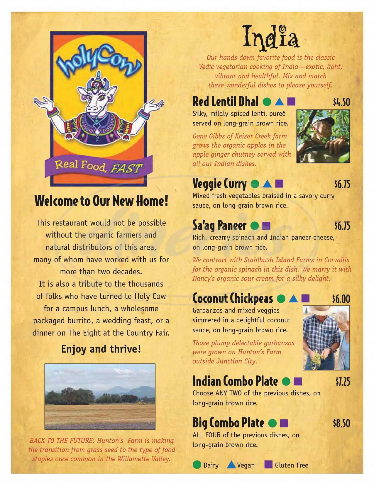 menu for Holy Cow