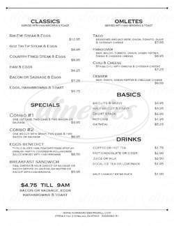 menu for Horseshoe Bar & Grill