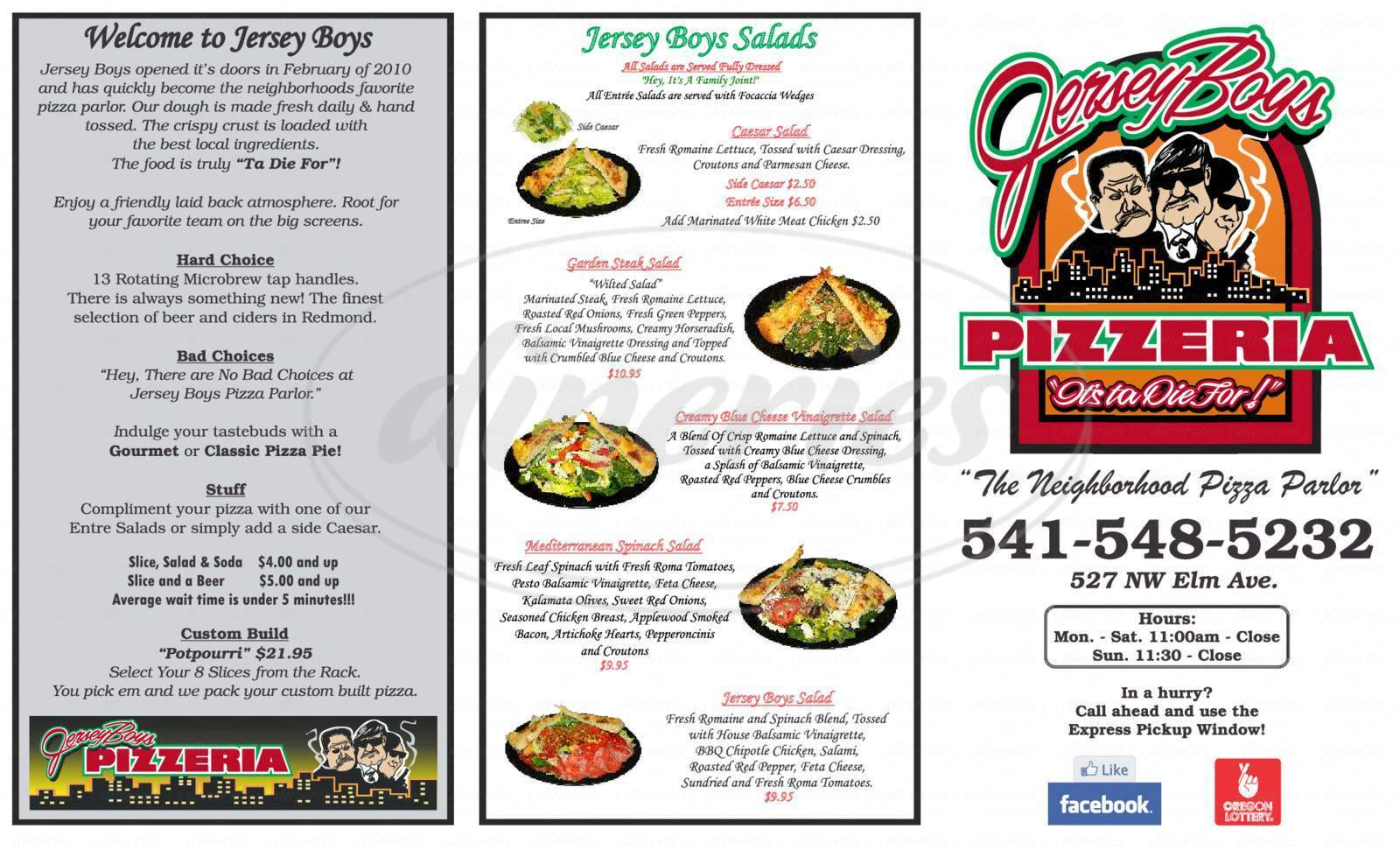 menu for Jersey Boys Pizzeria