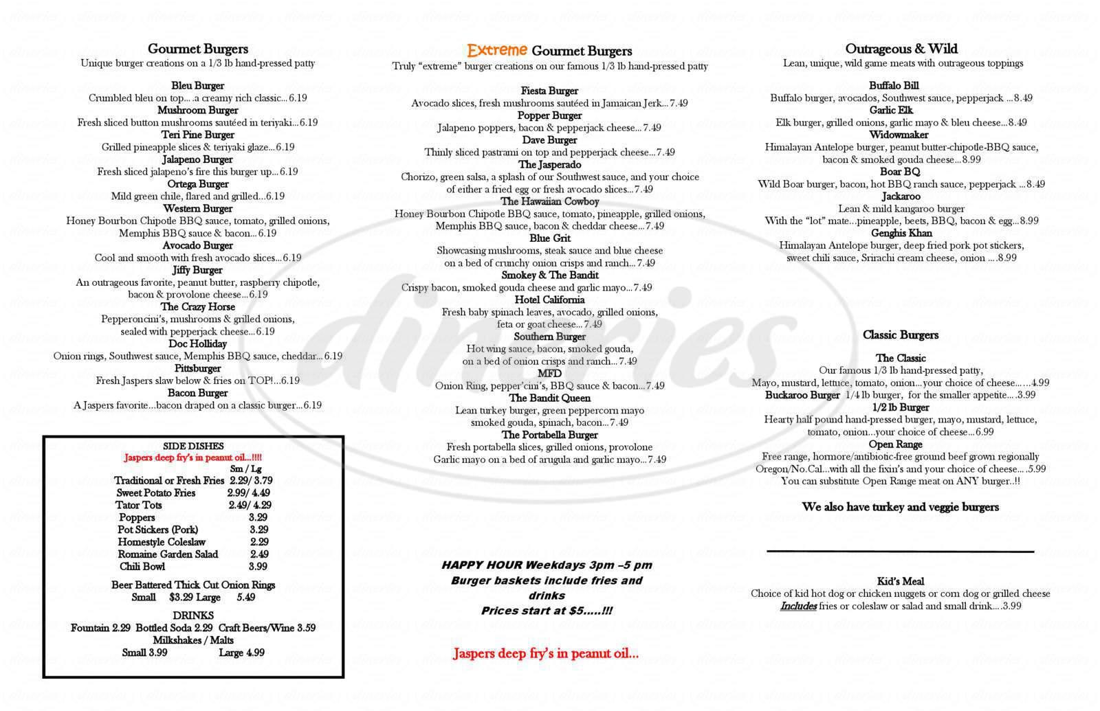 menu for Jaspers