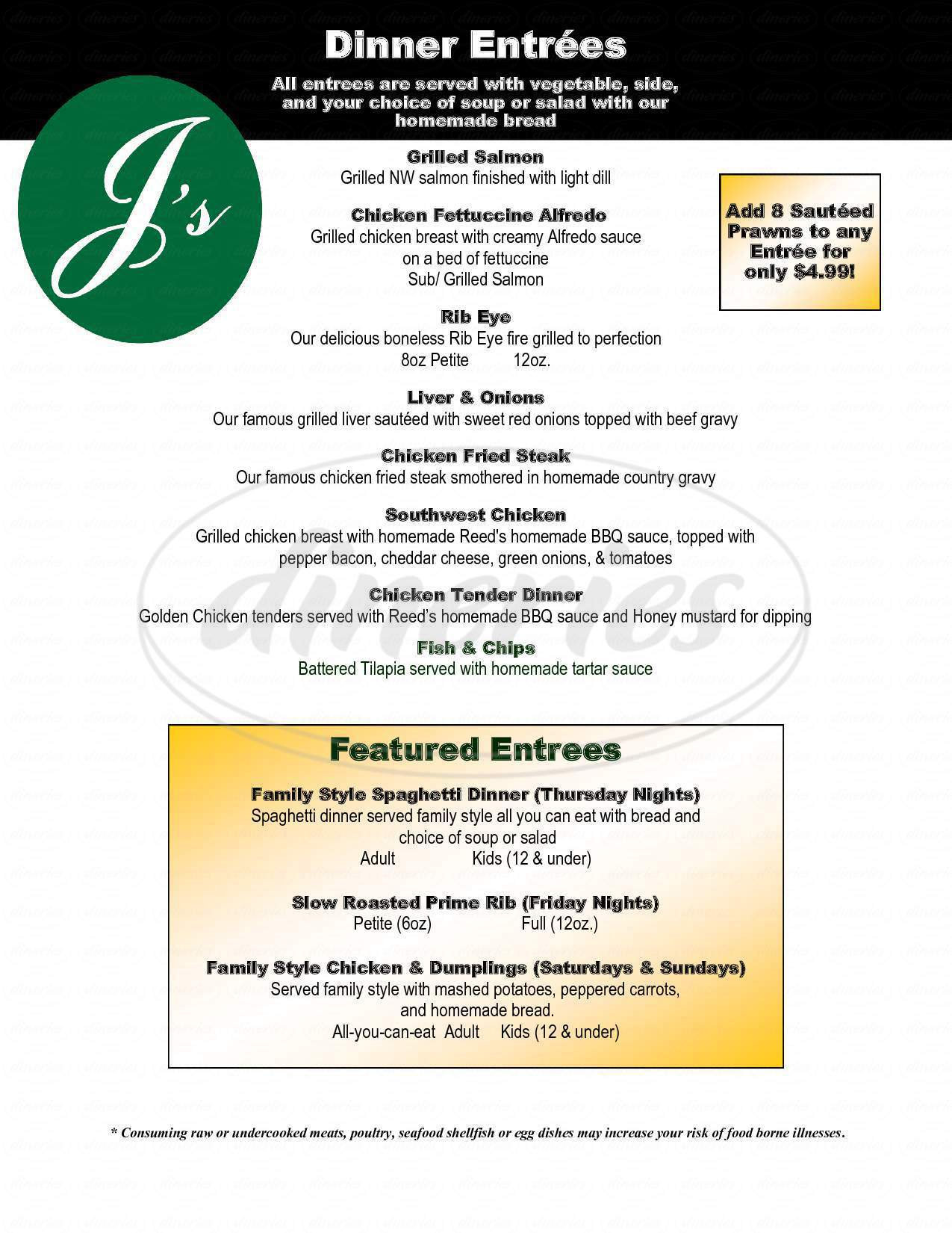 menu for J's Restaurant & Lounge