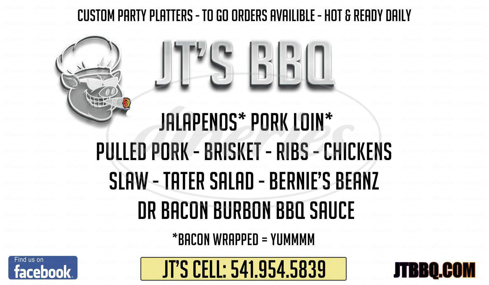 menu for JT's BBQ