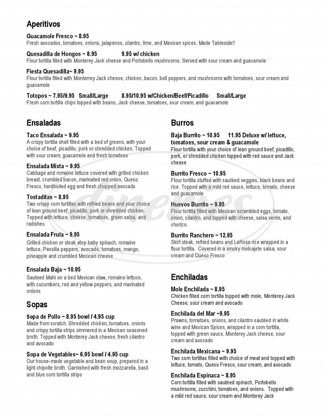 menu for La Rosa