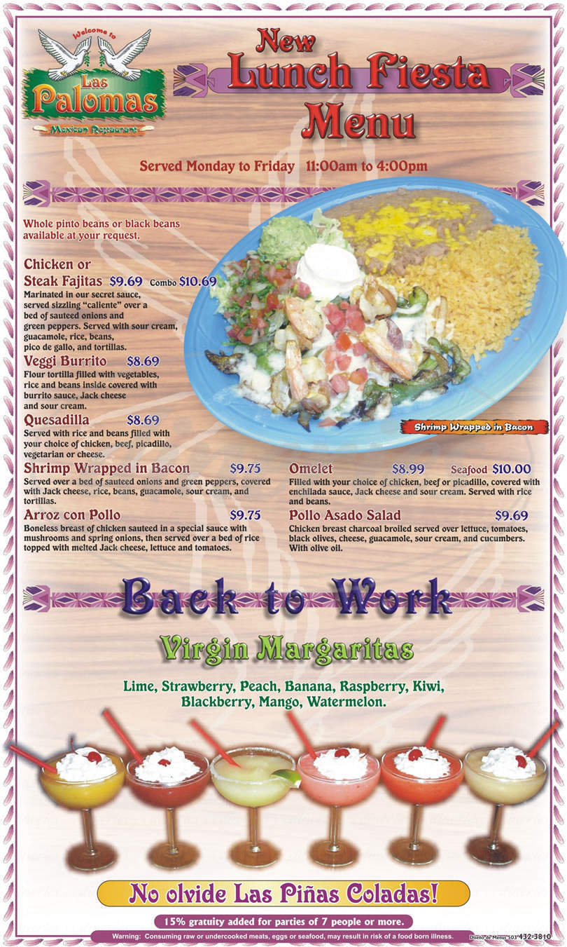 menu for Las Palomas