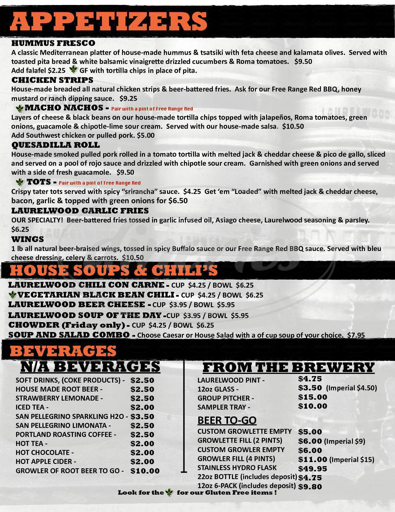 menu for Laurelwood SE Public House