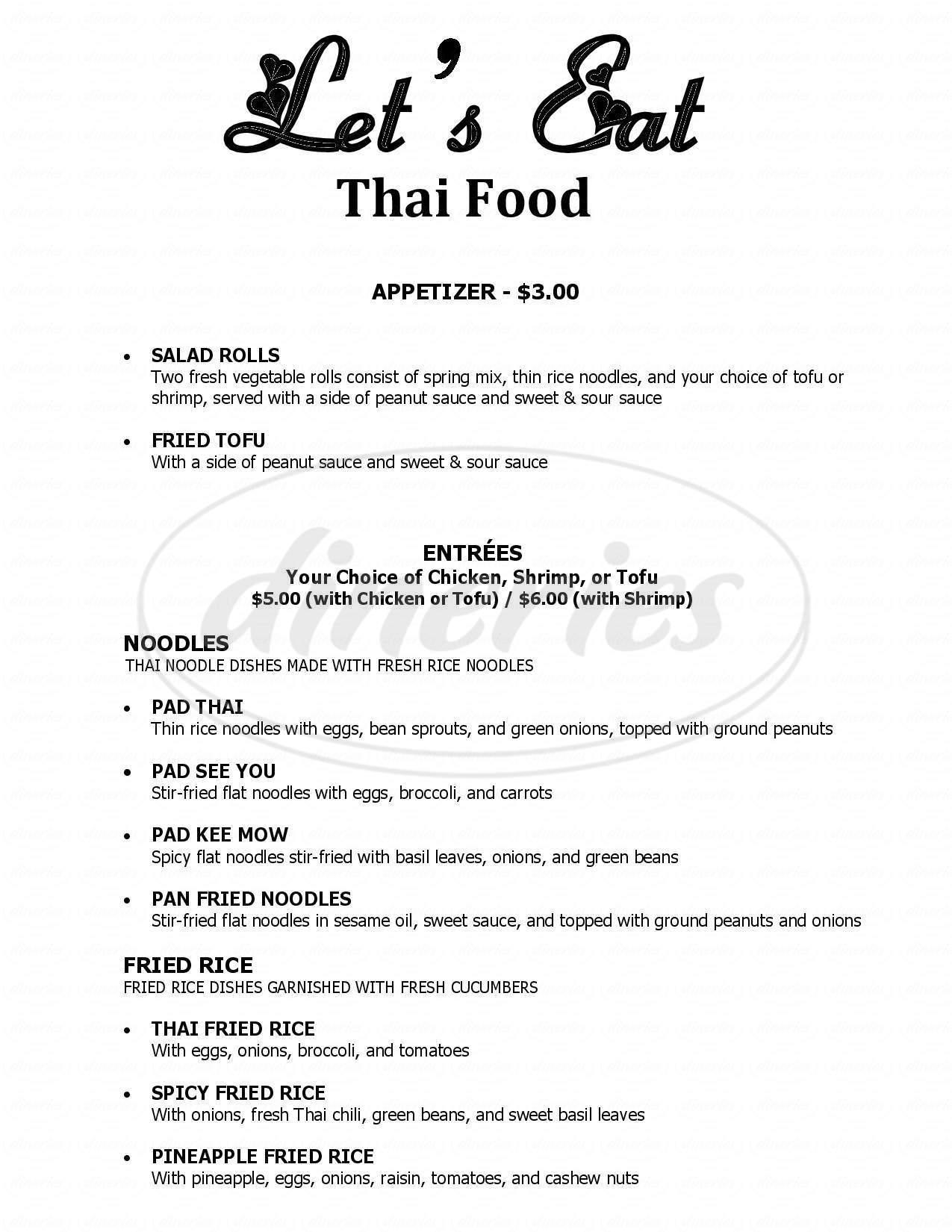 menu for Let's Eat Thai Food