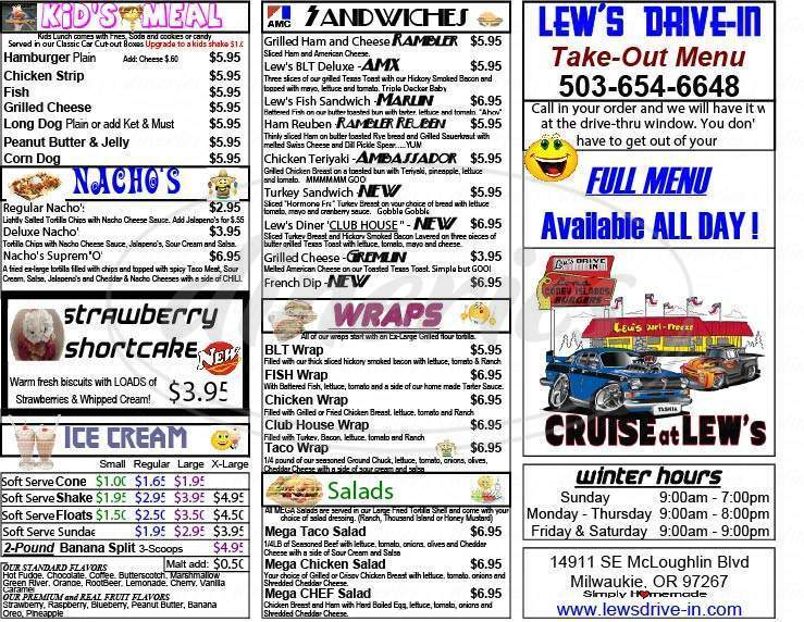 menu for Lew's Dairy Freeze