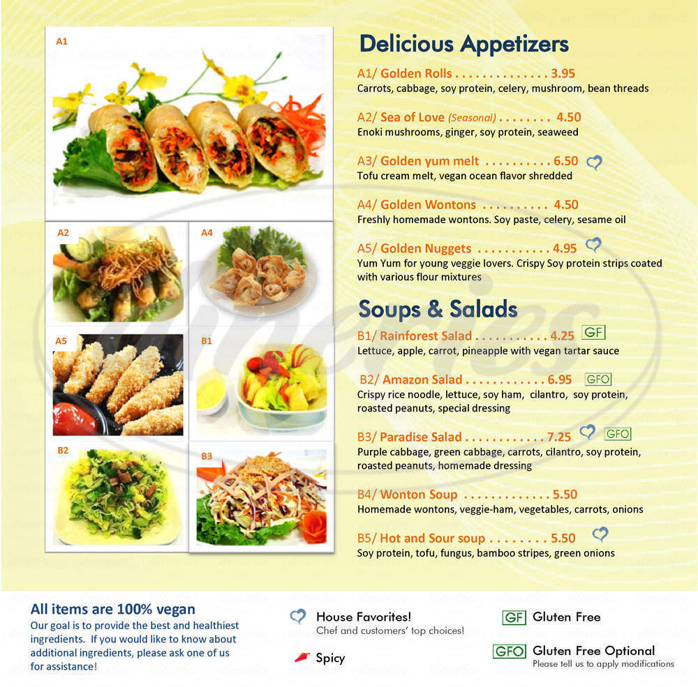 menu for Loving Hut