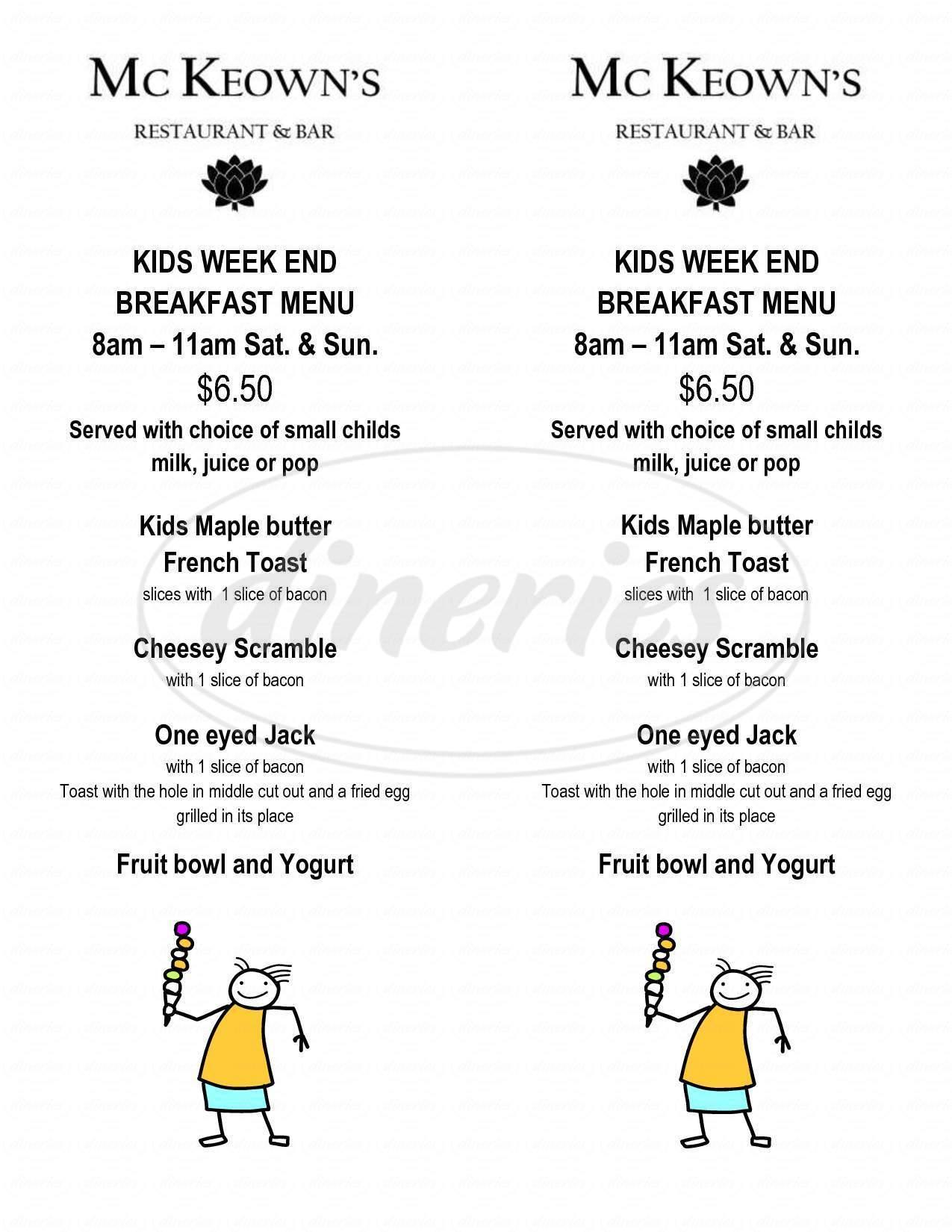 menu for McKeown's Restaurant & Bar