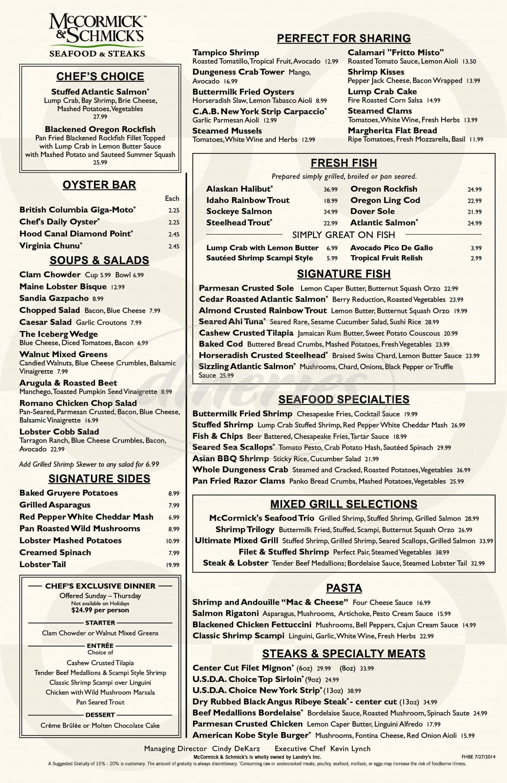 menu for McCormick's Fish House & Bar