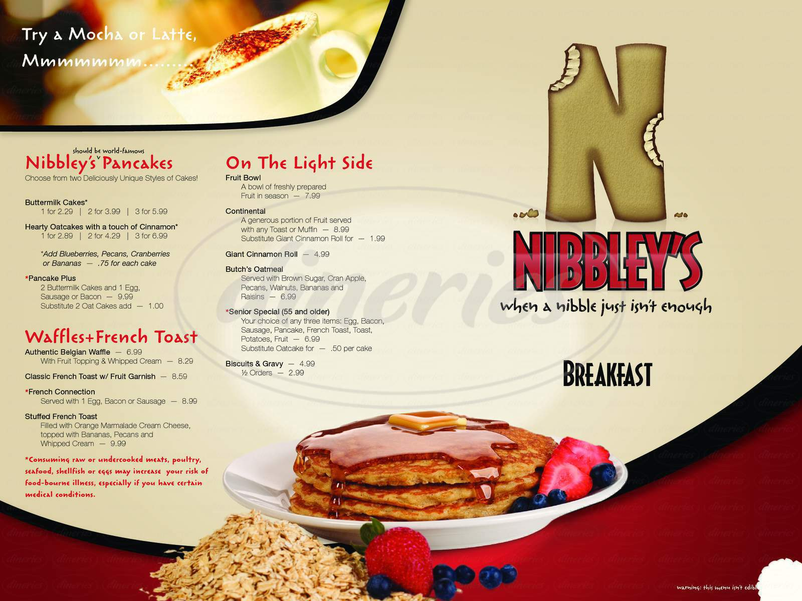 menu for Nibbley's Cafe
