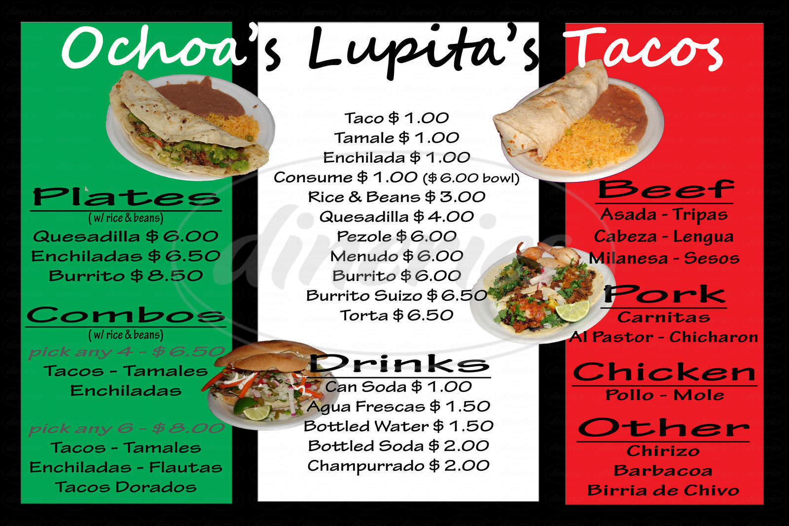 menu for Ochoas Lupitas