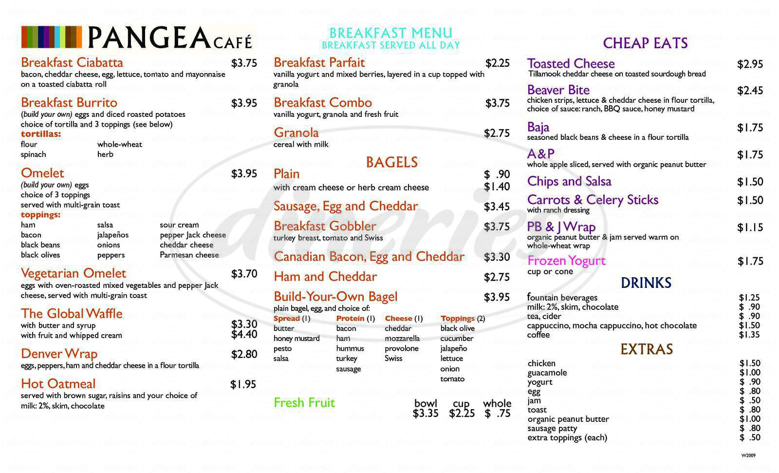 menu for Pangea Cafe