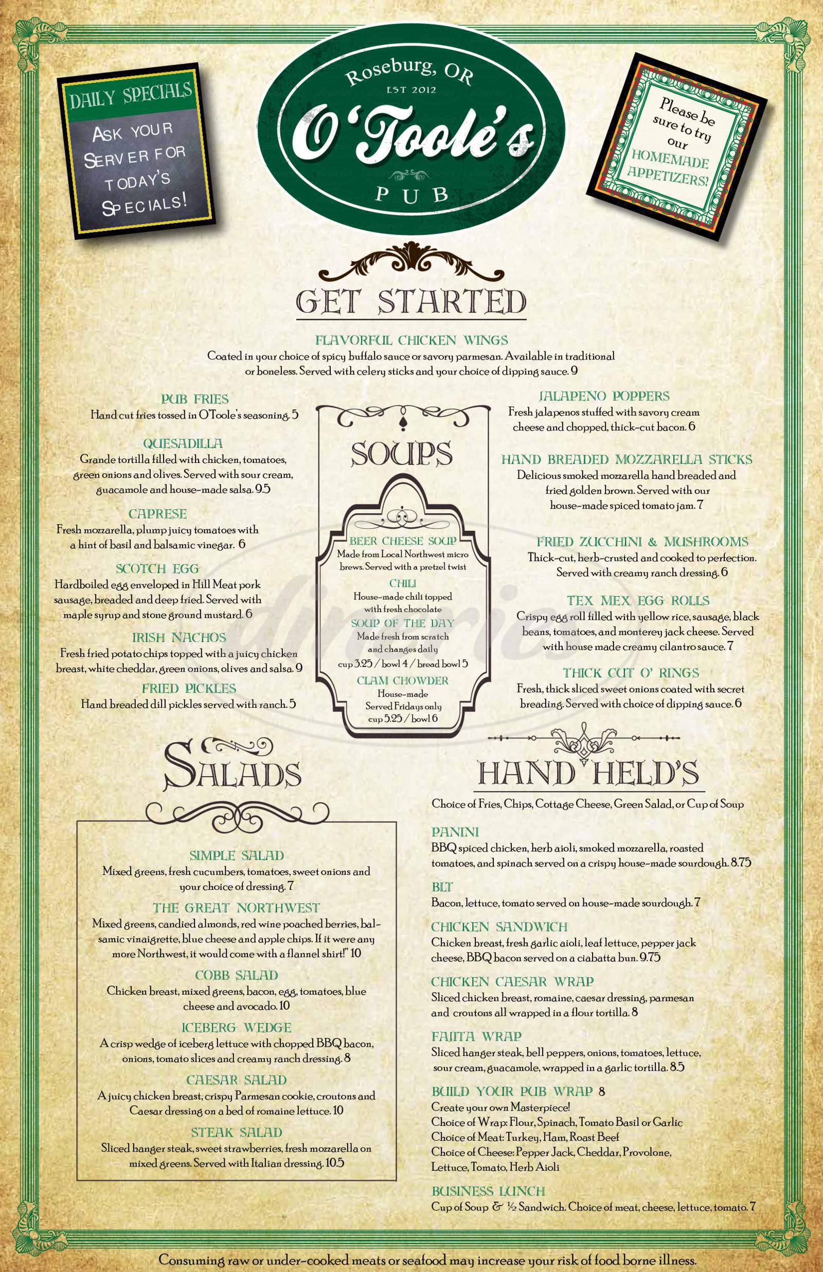 menu for O'Toole's Pub