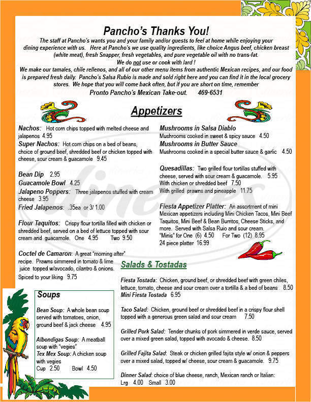 menu for Pancho's