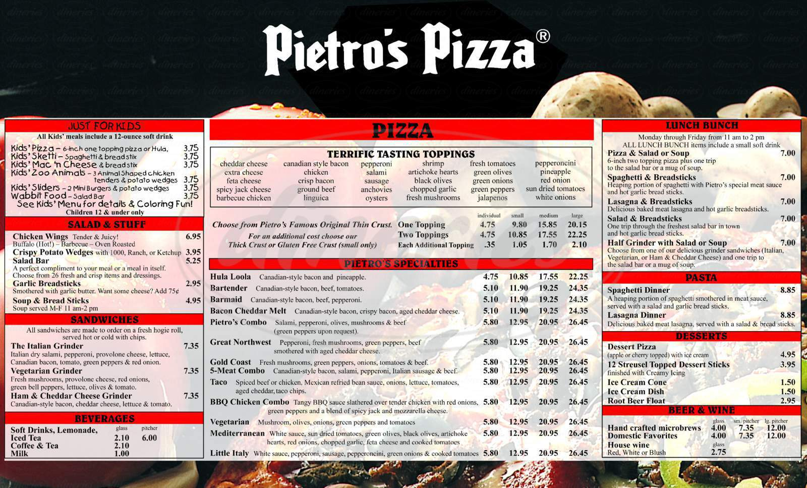 menu for Pietro's Pizza