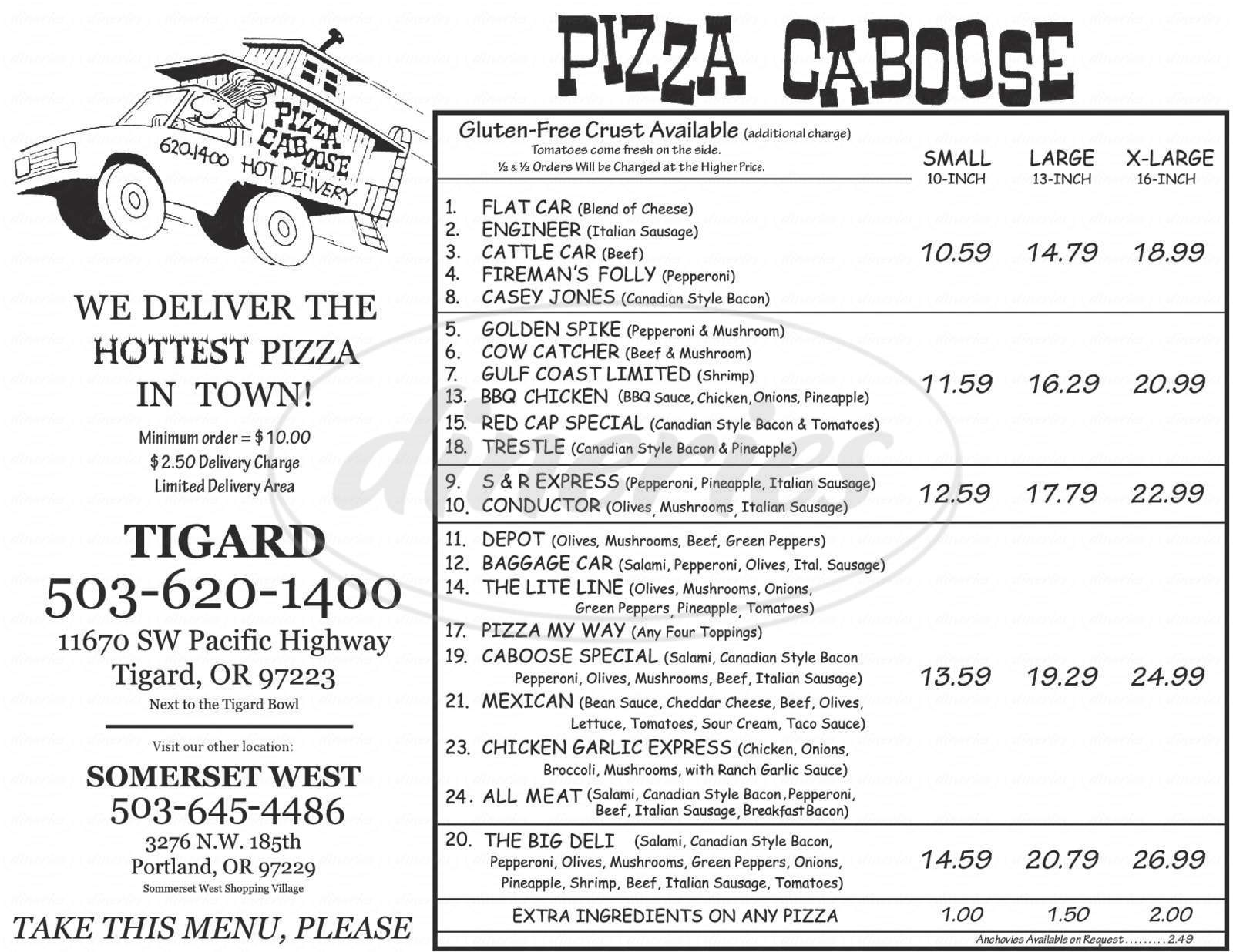 menu for Pizza Caboose