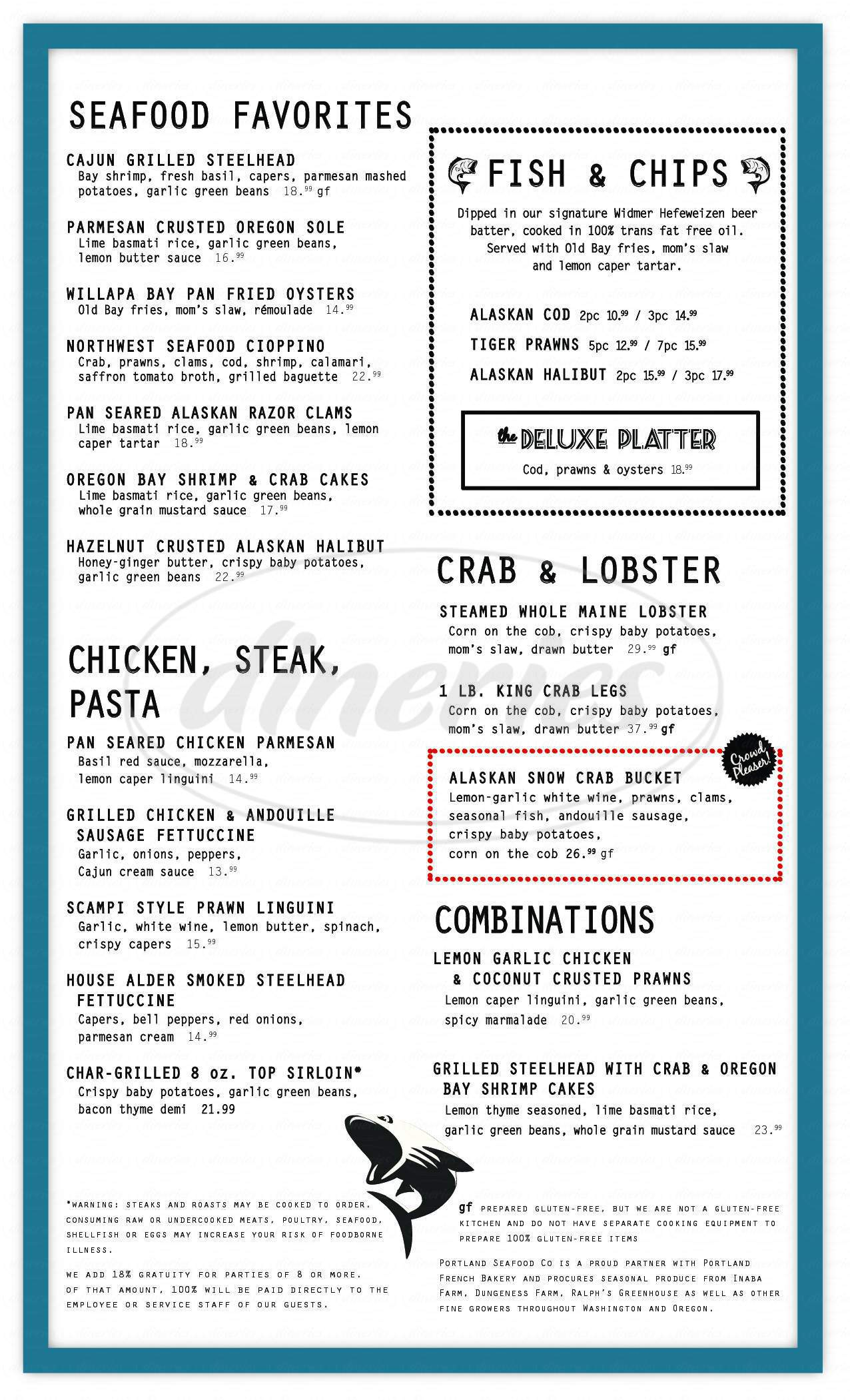 menu for Portland Seafood Company