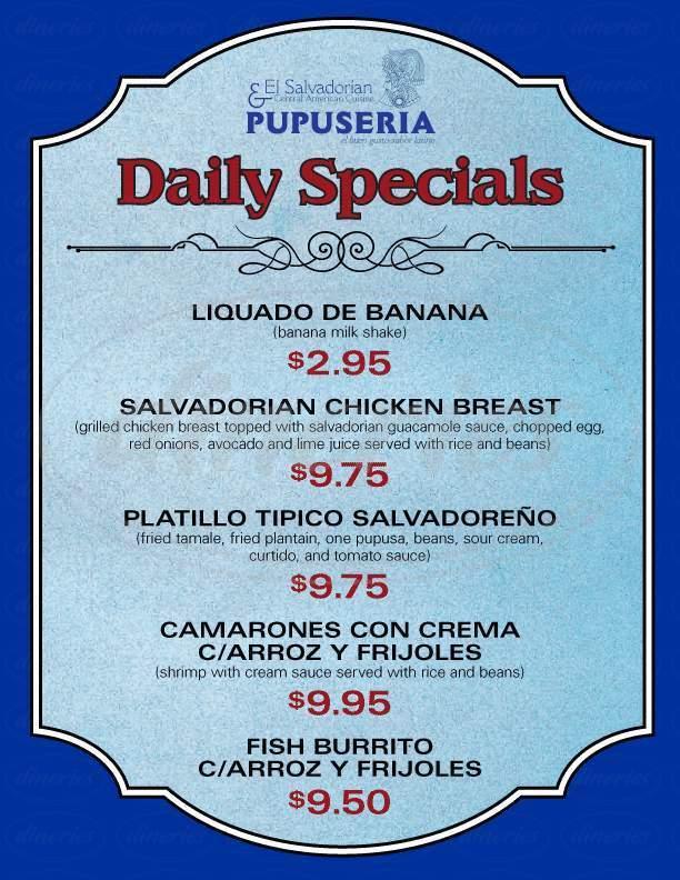 menu for Pupuseria El Buen Gusto