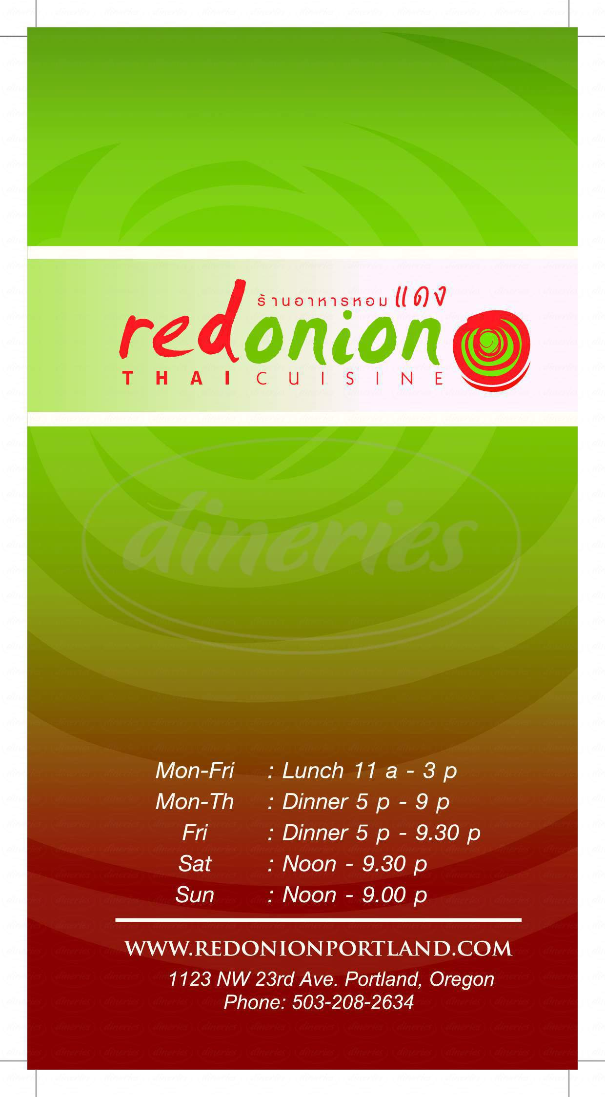 menu for Red Onion