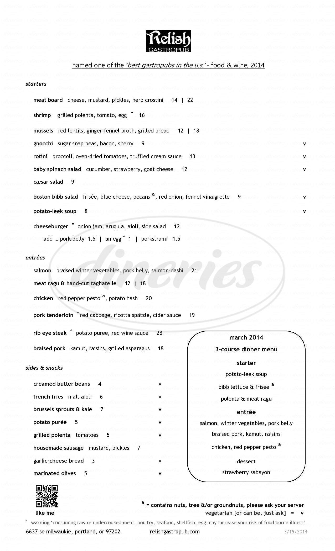menu for Relish Gastropub