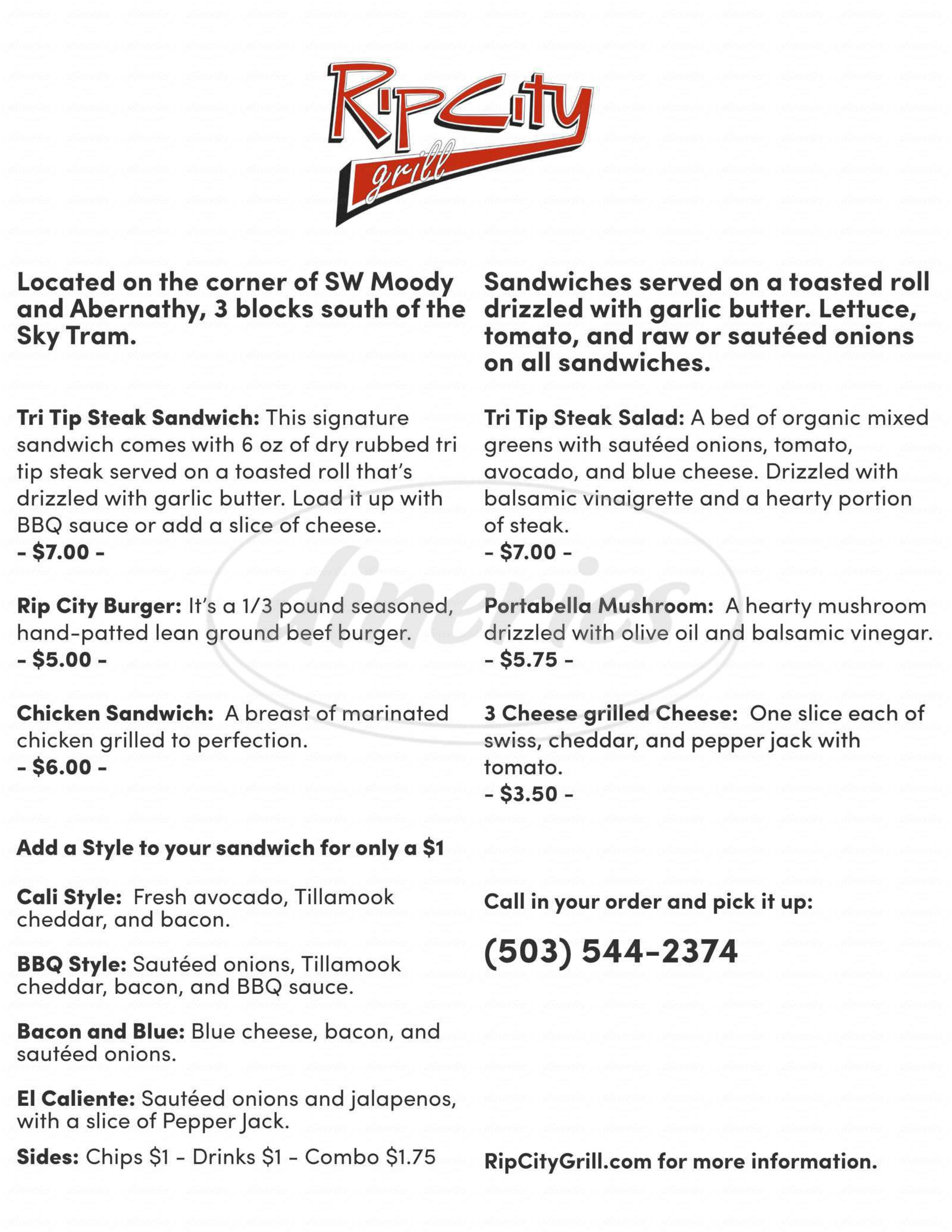 menu for Rip City Grill
