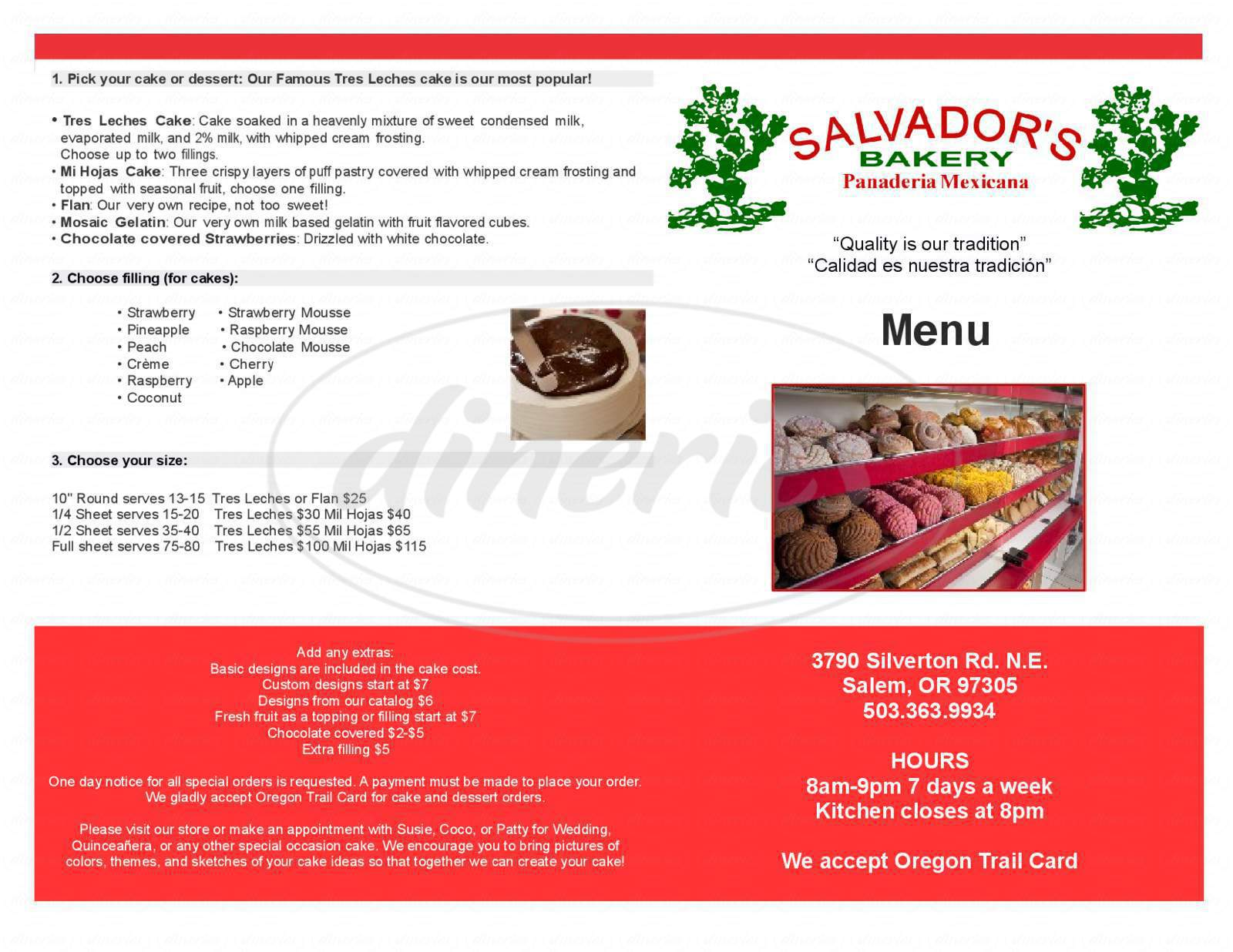 menu for Salvador's Bakery