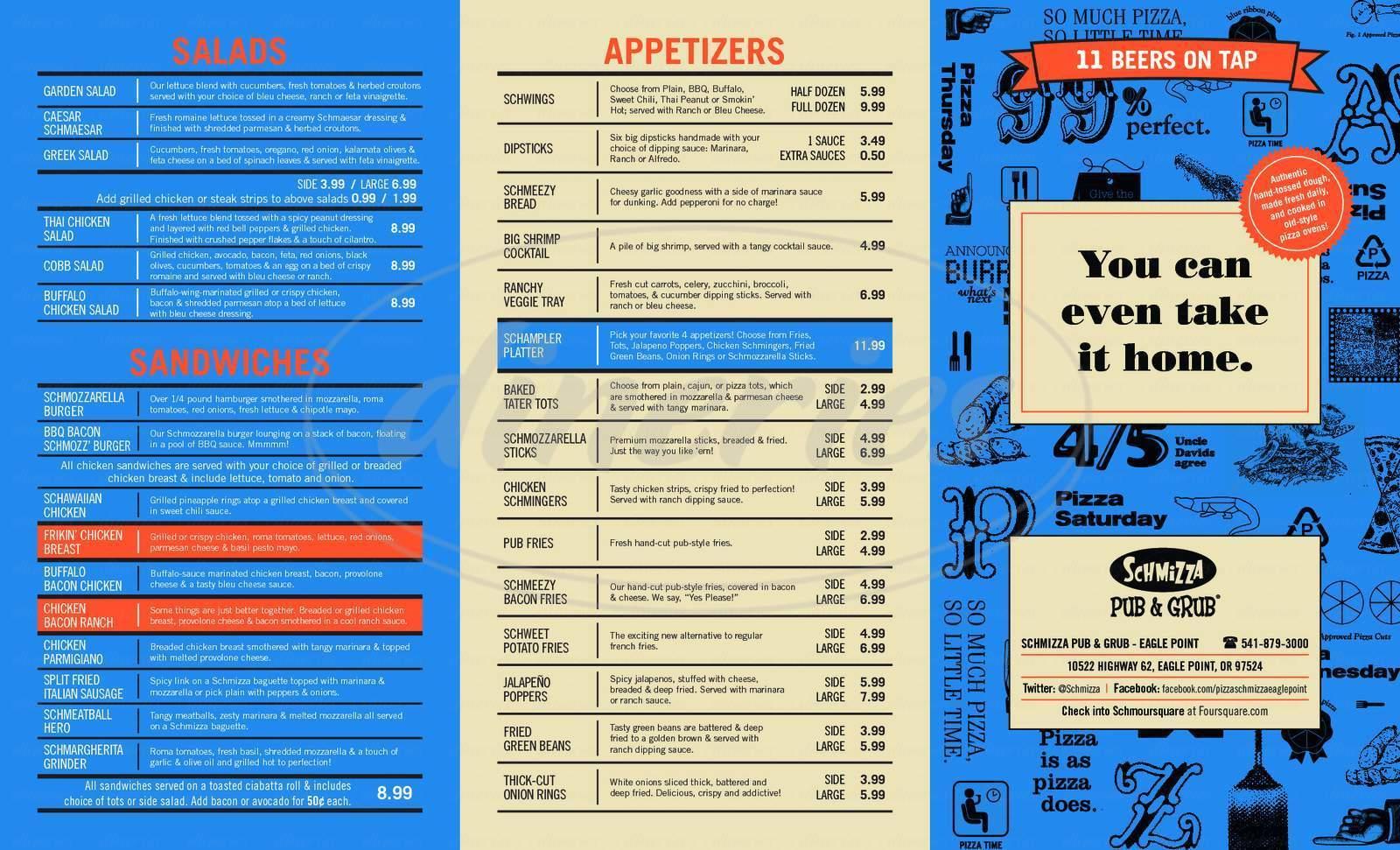 menu for Schmizza Pub & Grub