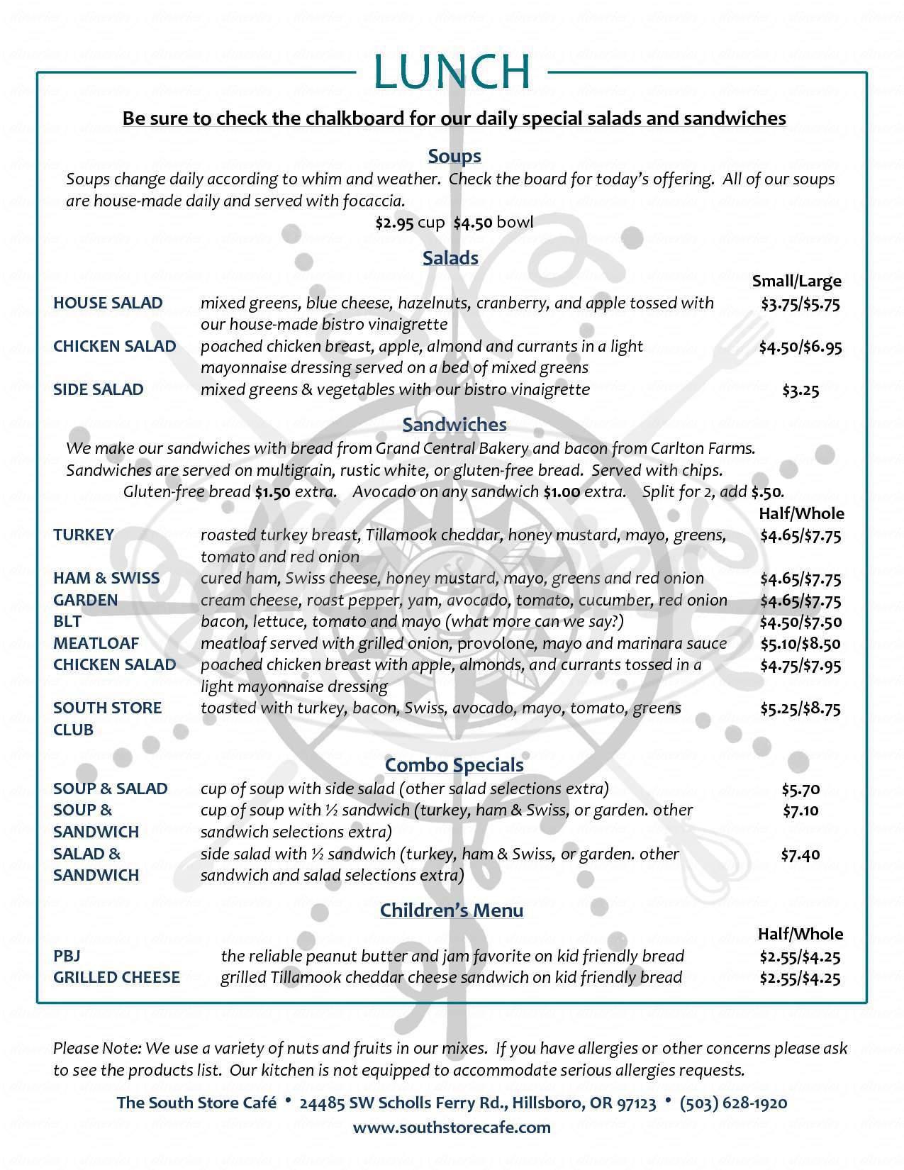 menu for South Store Cafe