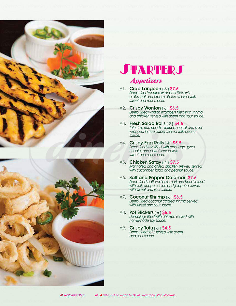 menu for Sunisa Thai