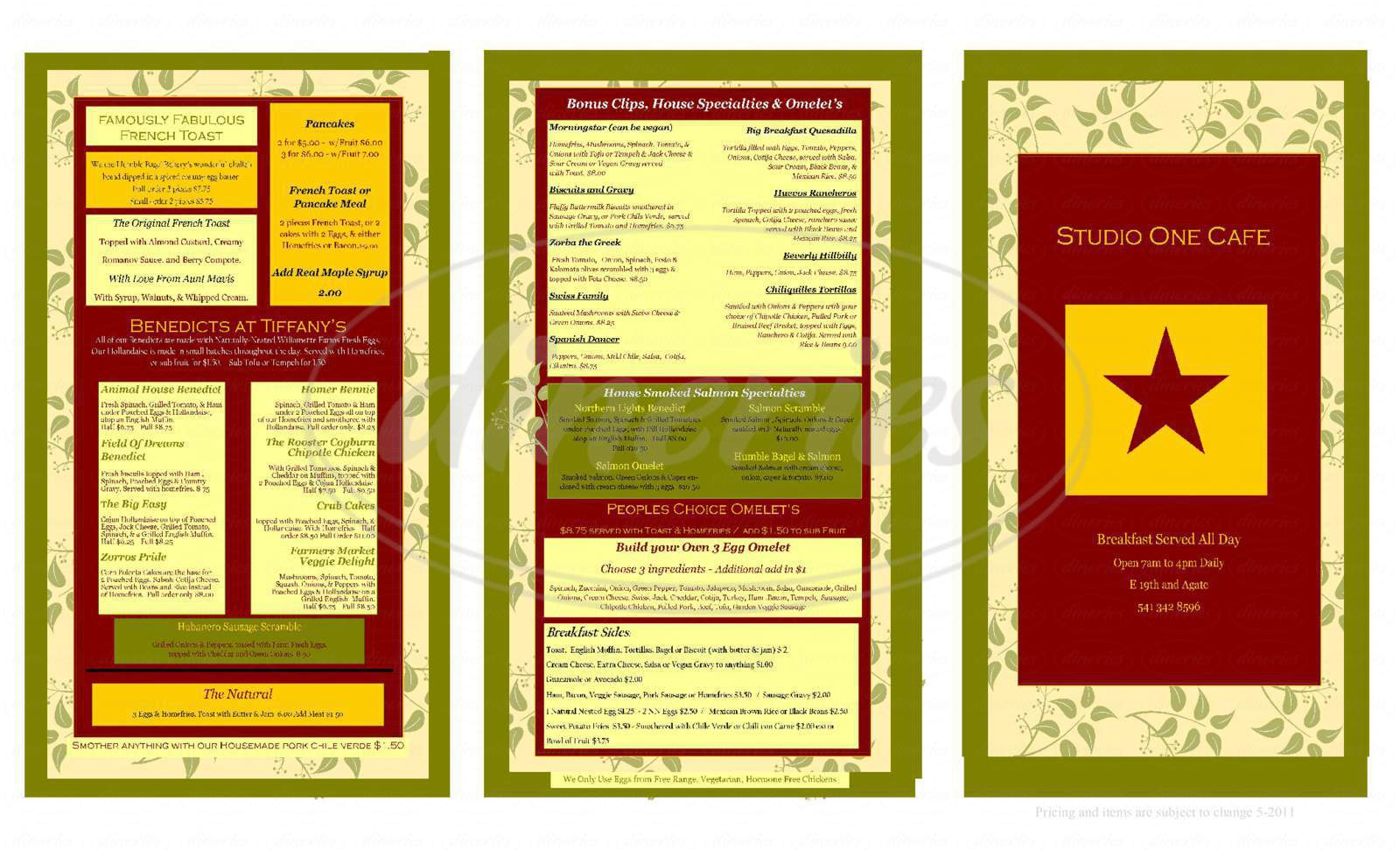 menu for Studio One Cafe