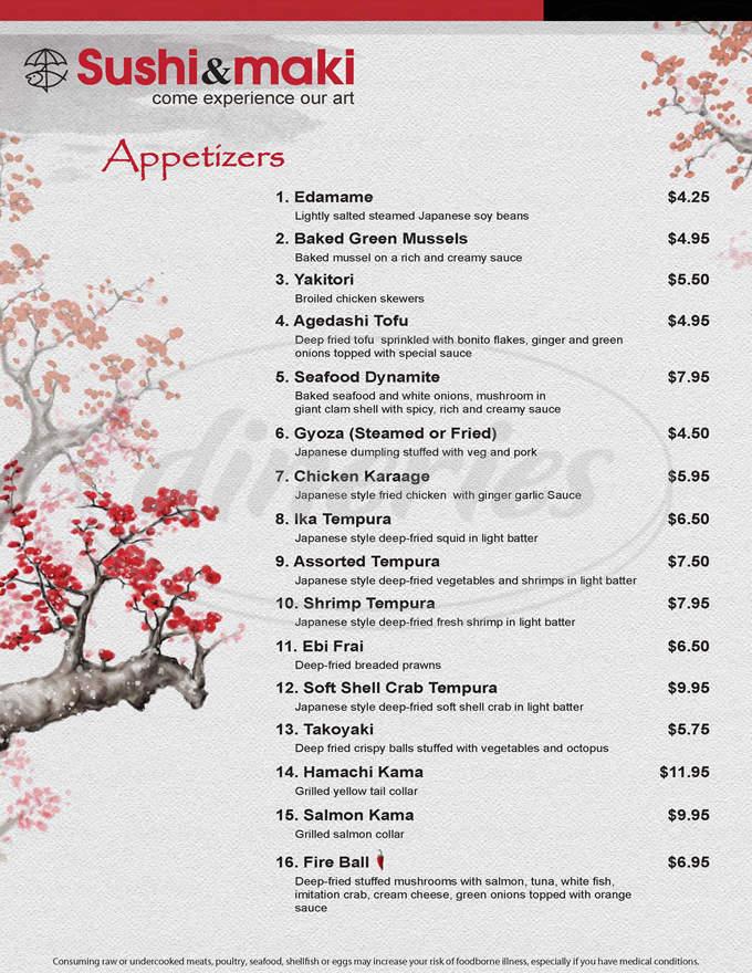 menu for Sushi & Maki
